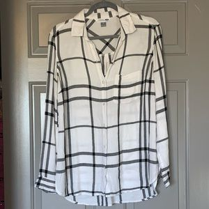 Button up flannel blouse.